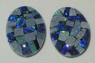 19.34ct Pair Australia Opal Mosaic Triplet Ovals 18x13mm SPECIAL