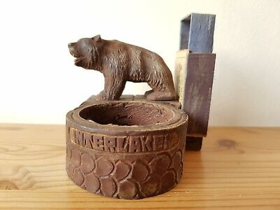 Stunning antique Black Forest carved bear matchbox holder. Interlaken.