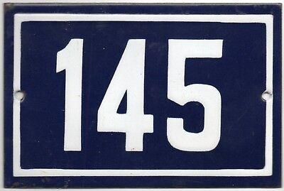 Old blue French house number 145 door gate plate plaque enamel steel metal sign