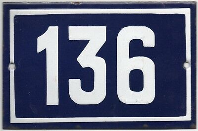 Old blue French house number 136 door gate plate plaque enamel steel metal sign