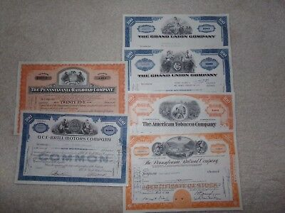 Lot of 6 Different Stock Certificates 1950-60s ABNC