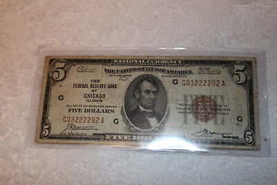 1929 $5 Dollar National Currency, Chicago, IL, Brown Seal Small Bill, Stk#292A