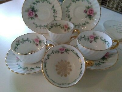 Four Royal Imperial Cabinet Style Swirled Cups & Saucers-Pink Roses,Gilding