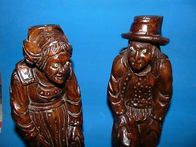 paire  of  magnificent Large*old  peasant*wood carved sculptures c1850  17 1/2""
