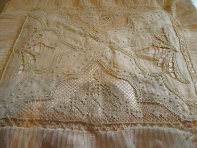 A Beautiful Antique Lace & Cut work Embroidery On Silk Lingerie Case