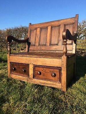 Antique Welsh Victorian Pine Settle Monks Bench Seat Coffee Church Pew Window