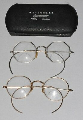 Rare Vintage- Lot of 2- White and Yellow Golf Filled Eye Glasses with Case!!!