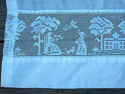 Vintage PAIR of CURTAINS MESH SILHOUETTE of VICTORIAN COUPLE and DOG in TOWN