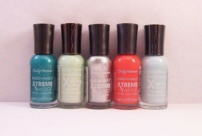LOT OF 5 Sally Hansen HARD AS NAILS XTREME WEAR NAIL POLISH ASSORTED SHADES
