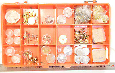 Lot / Container with hundreds Vintage alarm clock parts Watchmakers parts