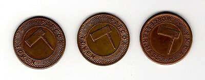 lot of 3 YMCA Worcester, Mass PARCOA parking tokens, nice shape! No Reserve!