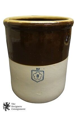 """Antique 8 Gallon Ceramic Earthenware Crock Clover M Churn Container 16"""" Country"""