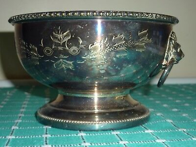 Silver Plated Bowl with Lions Head Handles