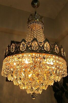 Antique Vnt.Gold plated French Basket style Crystal Chandelier Light 1940's 16in
