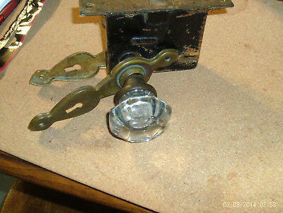 Vintage Pair of Glass Door Knobs with Lockset Escutcheo