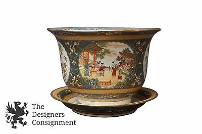 """Antique Chinese Qing Dynasty Qianlong Polychrome Enameled 19"""" Planter Pot Plate"""