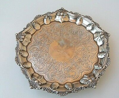 Antique 1831 London England Wrangham & Moulson Sterling Silver Footed Salver