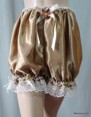 VINTAGE STYLE SILKY SOFT BRONZE SATIN BABY-DOLL PANTIES Med/Lg      =