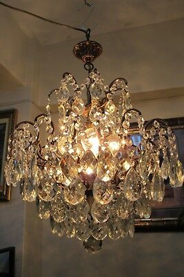 Antique Vnt. French SPIDER Style Crystal Chandelier Light 1940's 18 in