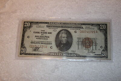 1929 $20 Dollar National Currency, Federal Bank of Philadelphia PA, Brown Seal