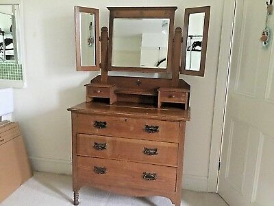 Vintage  Chest of drawers / Dressing Table with bevelled edge mirrors