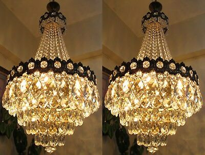 PAIR OF Antique Vnt BIG French Basket style Crystal Chandelier Light 1940's 16in