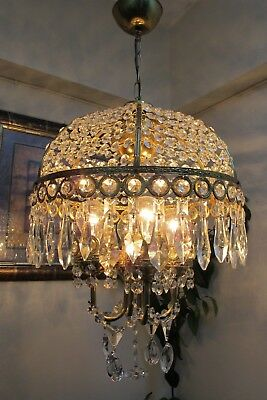 Antique VNT..French  DESIGN umbrella Style Crystal Chandelier Lamp 1960's.15 in