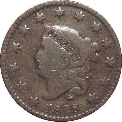 1828 Coronet Cent--Small Date--Very Good