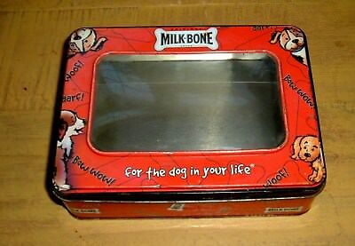 """Vintage Milk-Bone Metal Tin W/Window For Photo""""For The DOG In Your Life"""" Promo"""
