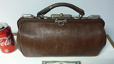 Rare antique medical doctor surgeon empty leather bag case physician briefcase
