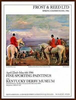 1986 C Ad  Frost And Reed Exhibitions Gallery Munnings Belvoir Hunt