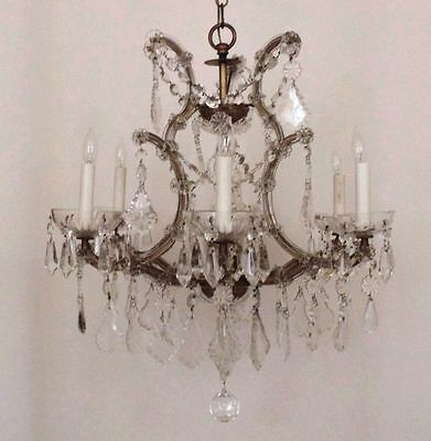 Italian Chandelier Crystal Glass Maria Theresa 6 Light w/ Prisms Fixture Italy