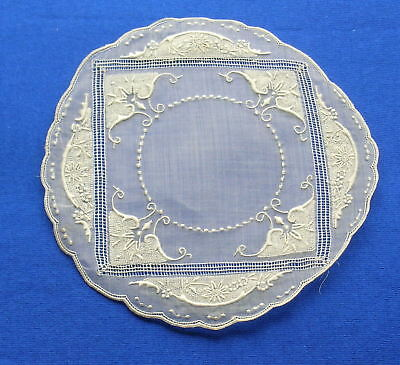 Antique Hand Embroidered  Lace  Doily   Coaster