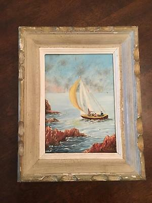 K) Late 1800s Coastal Sailboat In Cove Nautical French Oil Painting by Gravier