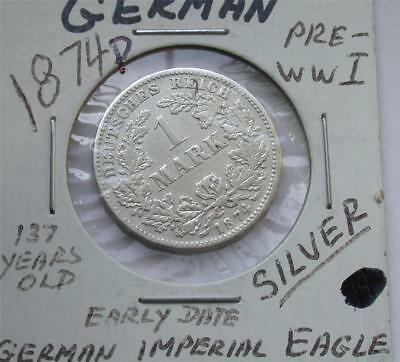 1874 D One 1 MARK German Empire Imperial Eagle Silver Coin