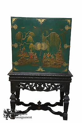 Antique Asian Dry Bar Cabinet or Bookcase Green W/ Black Carved Base 65""