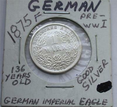 1875 F One 1 MARK German Empire Imperial Eagle Silver Coin