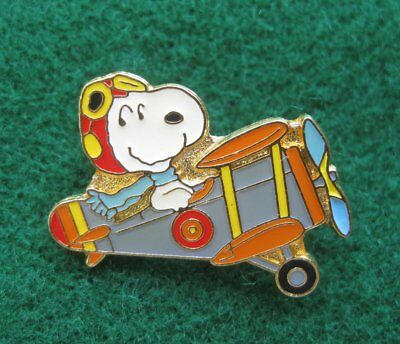 Snoopy's the cool Aviator Flying a Double wing airplane ~ Enamel Lapel Pin 2484
