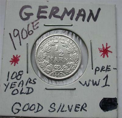 1906 E 1/2 Half MARK German Empire Imperial Eagle Silver Coin