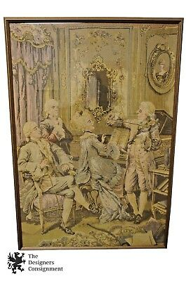 """50"""" Antique Tapestry French Aubsusson Baroque Colonial Scene Musicians Framed"""