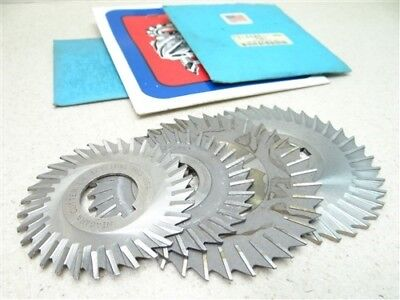 """Mixed Lot Of 4 Hss Side Chip Saws 1/16"""", 3/32"""" & 1/8"""" Widths 1"""" Bores Nigara"""