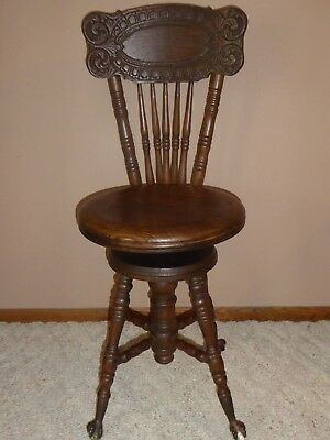 Antique Chas Parker Co Wood Piano Stool Chair Glass Balls Claw Feet Meriden Ct
