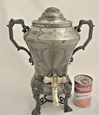 Victorian Simpson Hall & Miller Treble Plate Viking Head Mask Pattern Samovar