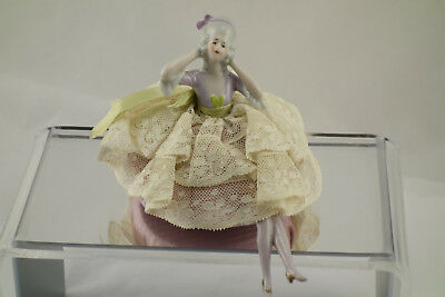 Antique German Porcelain Victorian Lady Half Doll Pincushion Lace Dress & Legs