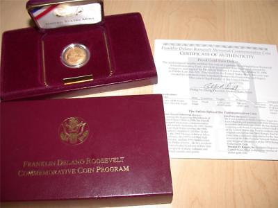 1997-W $5 Five Dollar Gold Franklin Roosevelt Memorial Commemorative Proof Coin