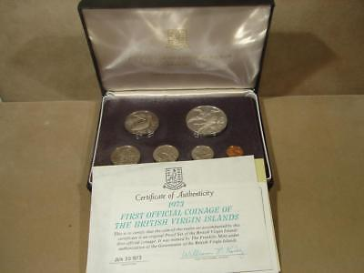 1973 First Official Coinage Of The British Virgin Islands Proof Set W/Silver $1