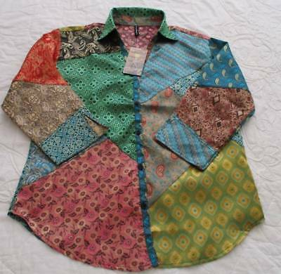 """Sacred Threads Blouse Top M Jacquard Satin Patch Ethnic Art2Wear Bust 44"""""""