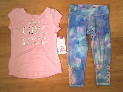 NWT Girls Size 12-14 Pink Actives Outfit - Tee Top & Marbled Capri Leggings NEW