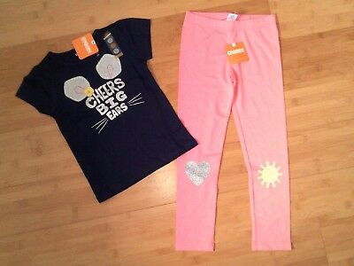 NWT Gymboree Girls Big Ears Outfit - Size 5T Tee Top & Size S 5-6 Leggings NEW