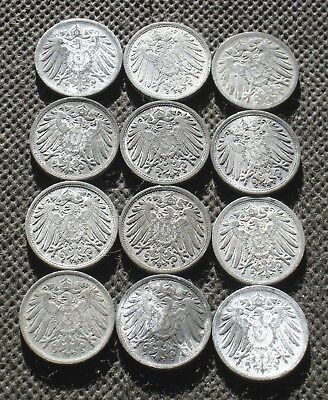Lot Of Twelve Old Coins Of Germany (German Empire & Weimar Republic) - Mix 600